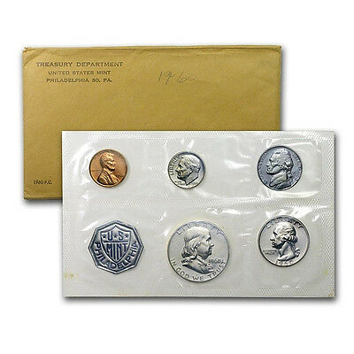 1960 United States Mint Proof 5 Piece set 90% Silver -- Free Shipping