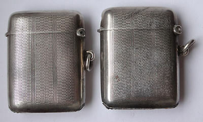 VESTA x 2 - Pair antique silver VESTAS match strikers matching B'ham 1925