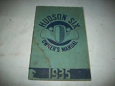 Original 1935 Hudson Six Owners Manual Canadian Issue Complete With Lube Diagram