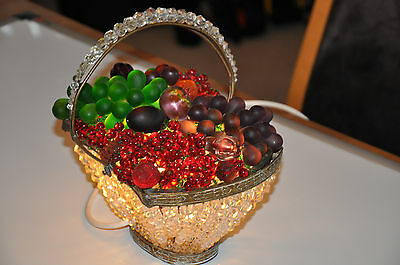 Antique Czech Beaded Glass Fruit Basket Lamp ca1910