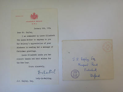 Royal Letter Queen Mother 1954 Clarence House signed by her Lady in Waiting 57