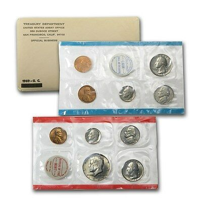 1969 United States Mint 10 Piece set 40% Silver Kennedy Half Dollar - Ships Free