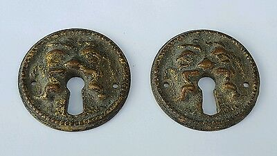 2 Matching Bronze Mask / Face with Mustache / Man Long Hair Escutcheon Key Hole