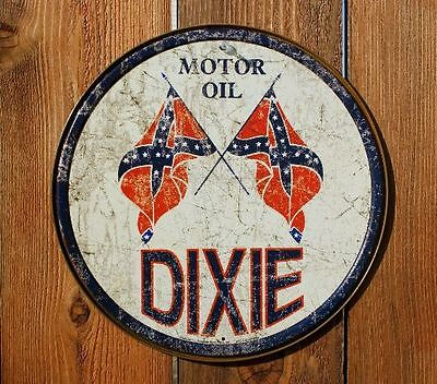 "Dixie Motor Oil 12"" Round Metal Sign"