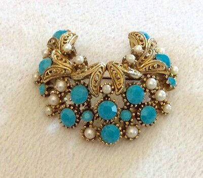 Sphinx Turquoise & Pearl Filigree Crescent Brooch