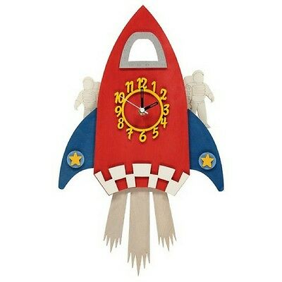 Quality Childrens Space Rocket Pendulum Wooden Wall  Clock - Kids space theme