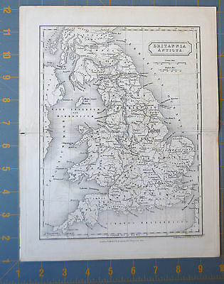 Ancient England Scotland Printed 1830 Old 11x9 Copper Plate