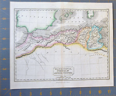 Ancient North Africa Egyptian Map Printed 1834 Hand Painted 11x9 Inchhes