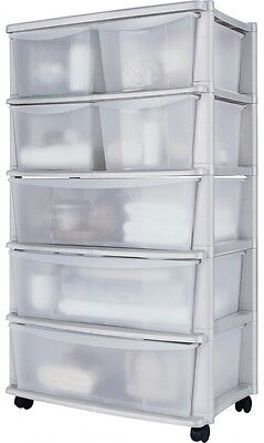 Plastic Wide Tower Storage Unit on wheels with 7 drawers - 131 litres