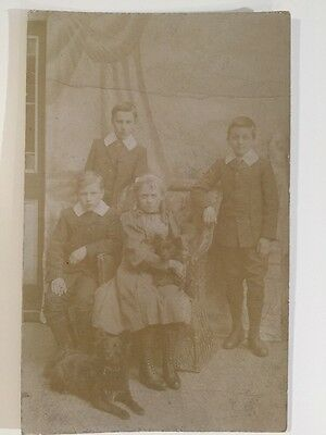 Vintage Postcard - RP Anonymous People - Children With Dogs #7