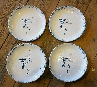 "BYBEE POTTERY Blue ON WHITE Spongeware Stoneware 4 ~6.5"" Plates"