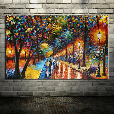 Large Handpainted Tree Street Abstract Landscape Oil Painting On Canvas Wall Art