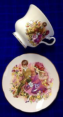 Vintage VERY RARE Royal Grafton Bone China TEACUP & SAUCER ~Boy & Girl On Date~