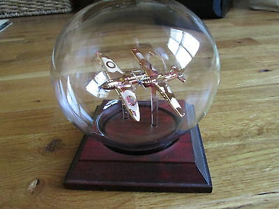 Two Spitfires In Glass Desk Model  - Mayflower Glass UK - Collectible Hand Blown