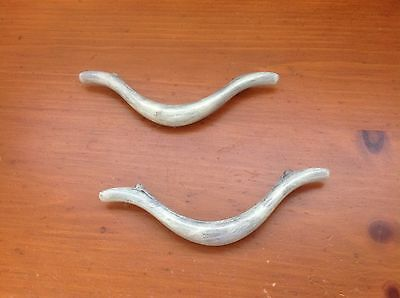 082 VTG MidCentury Handles In A Lovely Smokey Ivory Wash Set Of 2