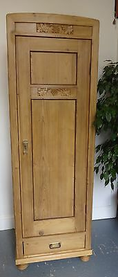 Vintage Tall Thin Wooden Carved Door Cupboard Cabinet Right Hand Opening