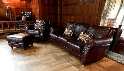 Victorian Style Cigar Brown Leather Chesterfield Suite 3 Seater Sofa Chair Stool