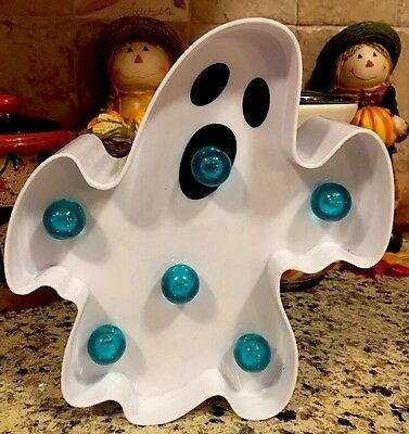 Halloween Led Light Up Ghost Battery Operated Halloween Marquee Wall  Hanging
