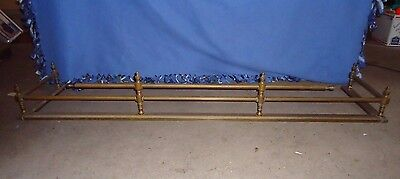 Antique Fireplace Fender,pure Brass,unique Finials,2 Rails & 6 Finials,54-1/4""