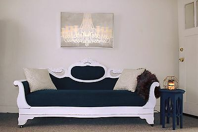 Antique Victorian Sofa with Decorative Carvings up-cycled