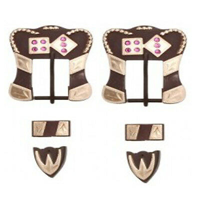 Tough-1 Antique Brown Buckle, Tip, and Keeper Set w/Pink Rhinestones Dice Poker