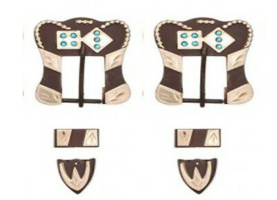 Tough-1 Antique Brown Buckle, Tip, and Keeper Set w/Green Rhinestones Dice Poker
