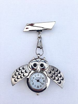 Owl Nurses Beautician Fob Watch Brooch Pin Medical Tunic (Free UK Postage)