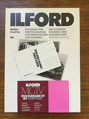 Ilford Multigrade Postcard Photographic Paper x100 Glossy Expired Sealed Box