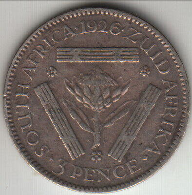 1926 South Africa silver 3 pence - earlier year, KM-15.1