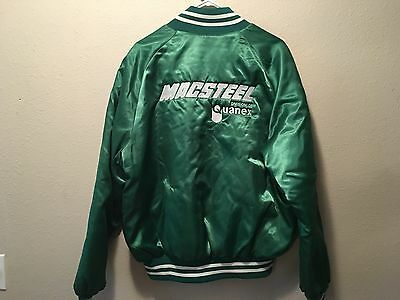 "Vintage 1980's Green Satin  jacket ""macsteel"" size XL ""Mike"" stitched in front."