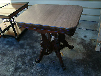 50043  Antique  Walnut Eastlake Victorian Marble Top Lamp Table Stand