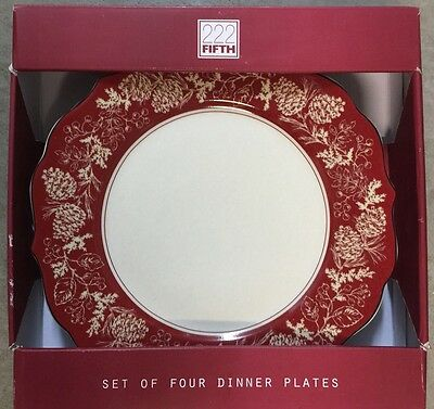 222 Fifth Andover Dinner Plates Set Of 4 Red Log Cabin Christmas Winter Snow