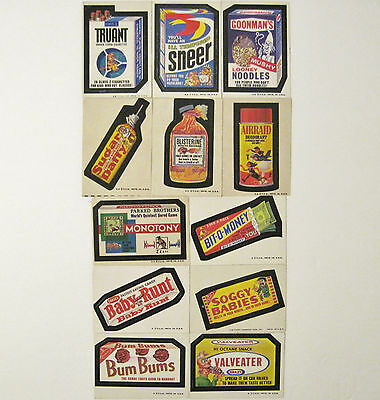 RARE Vtg 1974 Lot of 12 Topps Wacky Packages Mixed 6th Series All Tan Backs NICE