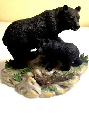 """""""Watching her Cub"""" Black Bear and Cub Figurine, home interior and gifts"""