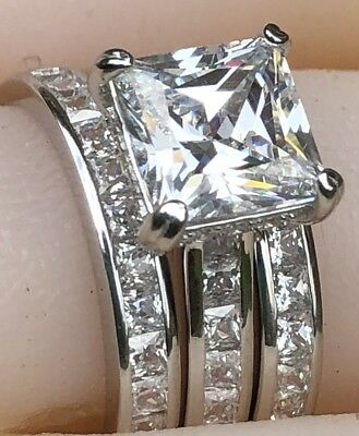 3pc Bridal Set: 925 Sterling Silver Princess Created Diamond Engagement Ring
