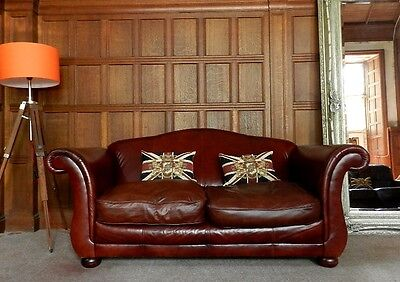 Laura Ashley Penhurst Victorian Style Antique Brown Leather 3 Seater Club Sofa