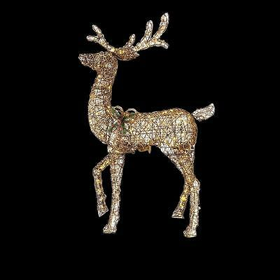 Christmas Animated Standing Deer LED Lighted Gold Outdoor Garden Yard Decoration
