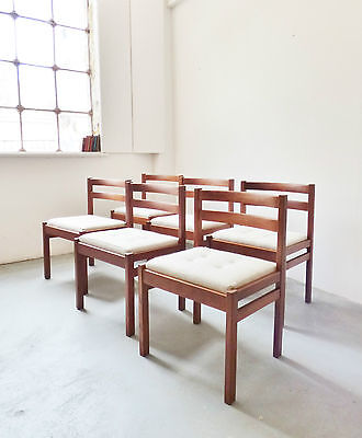 Set Of 6 1970S Danish Teak Dining Chairs Buttoned Wool Seats Mid-Century Vintage