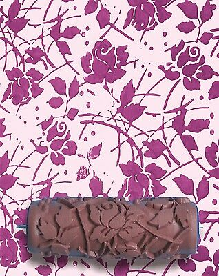 Wild Roses Flower DIY Pattern Embossed Paint Roller 15cm Wall Texture Stencil