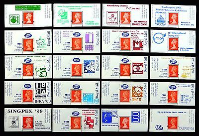 GB Machin Boots Labels - 20 Different Exhibition Overprints NEW SALE PRICE