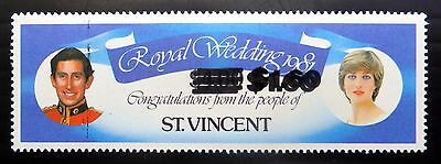 St VINCENT 1981 Royal Wedding Loving Stamp with Double OPT FP8170