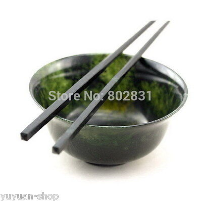 Set Old Chinese Beautiful Black green Jade Carved Art Bowl / Chopsticks