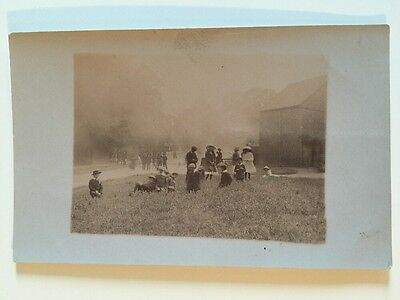 Vintage Postcard - RP Anonymous People - Group On Village Green #83