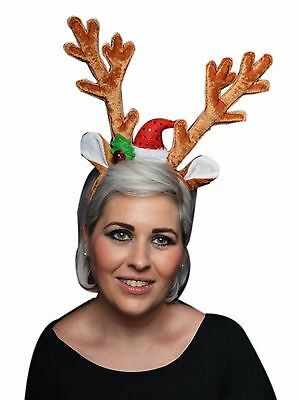 Christmas Reindeer Antlers Aliceband with Silver Bells and White Fur Trim Lot