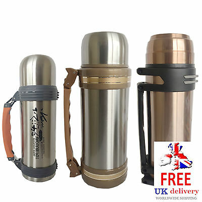 1L / 2L Litre Stainless Steel Vacuum Flask Travel Pot Thermos Hot Cold Handle
