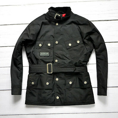 BARBOUR INTERNATIONAL Nylon Girls Waterproof Jacket Coat Black Size 6 7 years