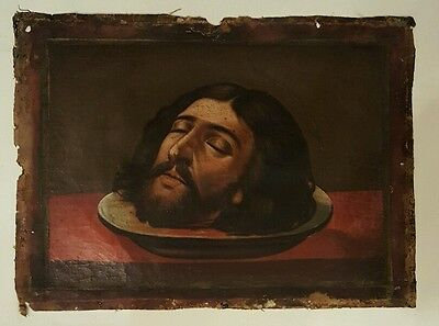 18th.Century Russian Eastern European Oil Painting Baptist Portrait Signed 1700s