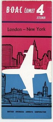 BOAC AIRLINE BROCHURE COMET TO NEW YORK 50'S plus COMET 4 CARD CARD FLYER