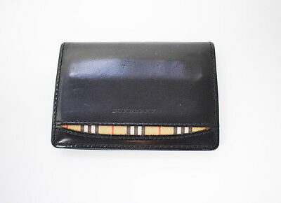 Authentic Burberry Leather Card Business Card Wallet Holder Black