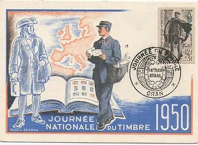 """Algeria 1950 Max card """"Day Of The Stamp with Postman"""